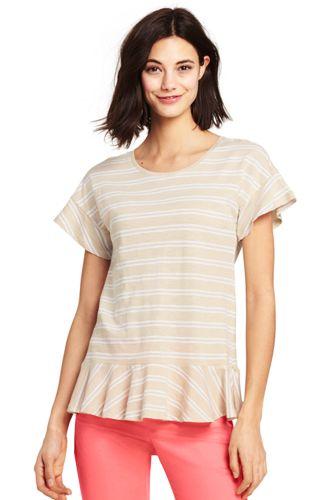 Gestreiftes Shirt mit Volants für Damen in Plus-Größe