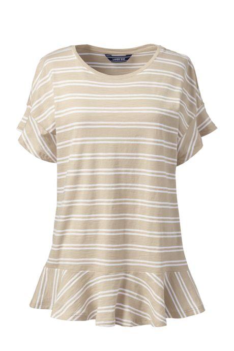 Women's Petite Flounced Stripe Scoop Neck Top