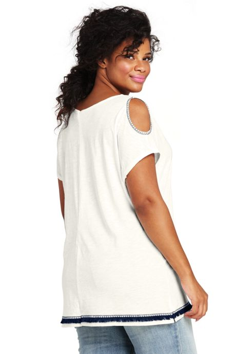 Women's Plus Size Embroidered Cold Shoulder Top