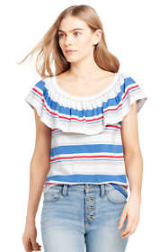 Women's Stripe Ruffle Shoulder Top
