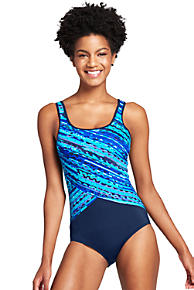Free Shipping Finishline Great Deals For Sale Womens Deep Sea Ripples Tugless Swimsuit - 14-16 - BLUE Lands End Low Price Cheap Online Geniue Stockist Online GI8m5