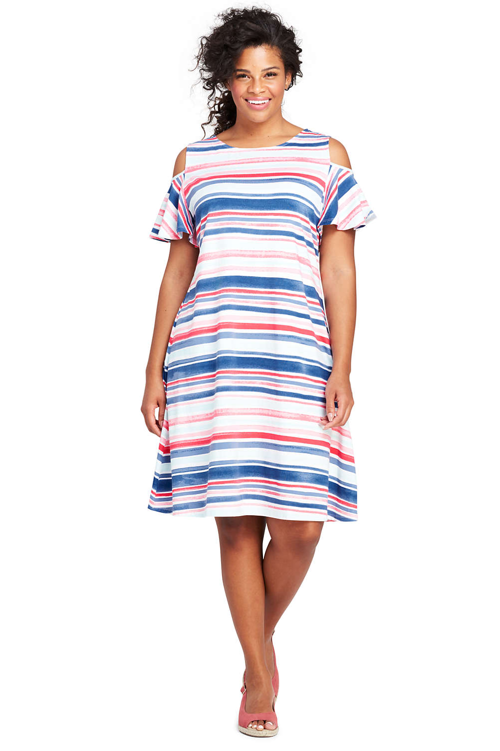 Women\'s Plus Size Stripe Cold Shoulder Tank Dress from Lands\' End