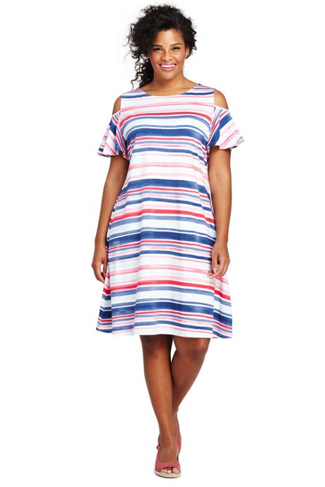 Women's Plus Size Stripe Cold Shoulder Tank Dress