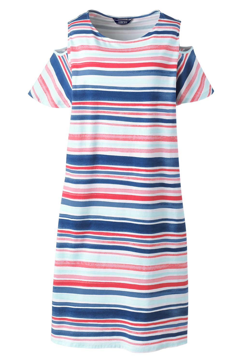 d50f26521e1b3 Women s Plus Size Stripe Cold Shoulder Tank Dress from Lands  End
