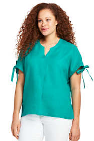 Women's Plus Size Crossover Linen Top