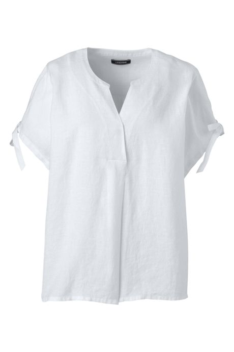Women's Plus Size Crossover Linen Top