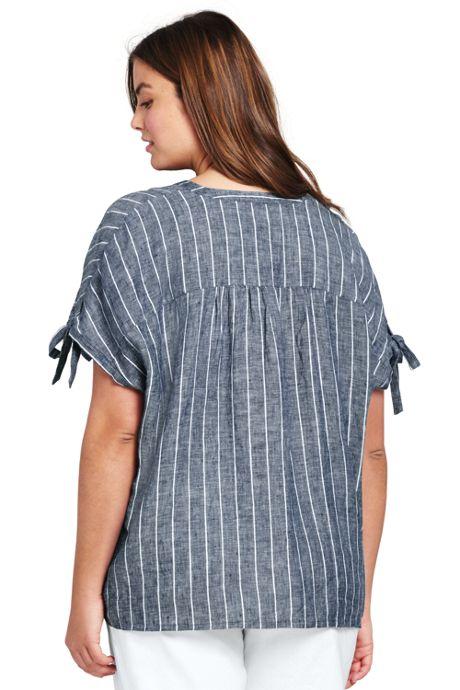 Women's Plus Size Stripe Crossover Linen Top