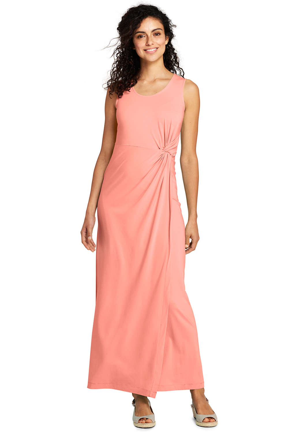 dbfabed9904 Women s Sleeveless Knot Waist Maxi Dress from Lands  End