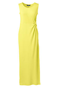 Womens Petite Jersey Maxi Dress with Knot Detail - 10 -12 - Yellow Lands End Visa Payment Cheap Online 2018 Newest Discount Best Sale FxxGp2