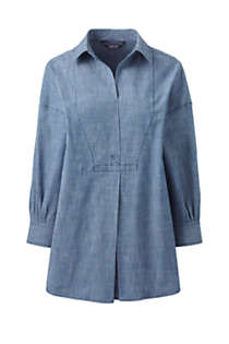 Women's Petite Chambray 3/4 Sleeve Tunic, Front