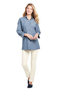 Women's Petite Chambray 3/4 Sleeve Tunic, Unknown