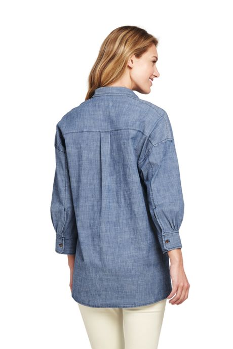 Women's Petite Chambray 3/4 Sleeve Tunic