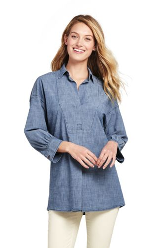 Women's Chambray Three-Quarter Sleeve Tunic