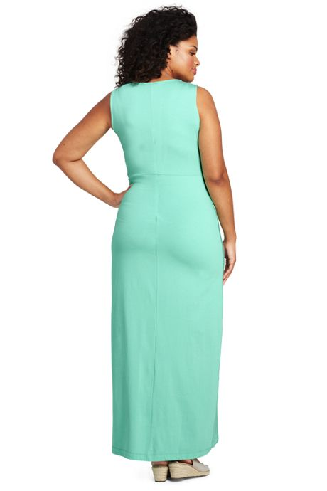 Women's Plus Size Sleeveless Knot Waist Maxi Dress