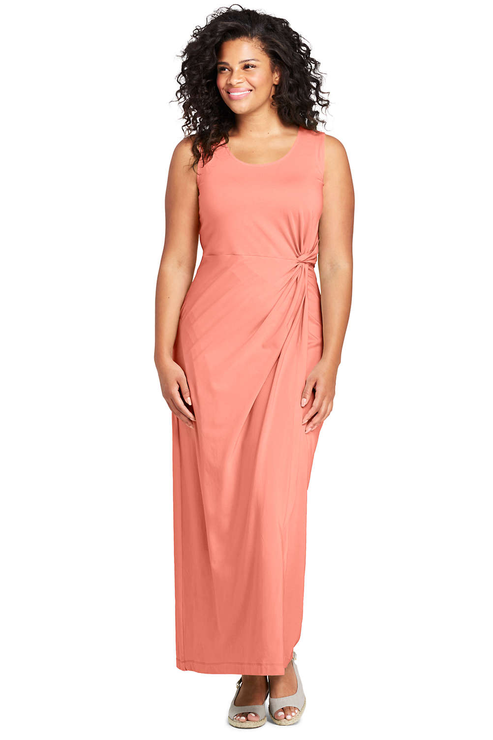 24f9128d8c5fb Women's Plus Size Sleeveless Knot Waist Maxi Dress