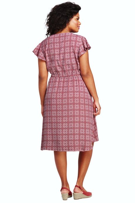 Women's Plus Size Flutter Sleeve Print Knee Length Dress