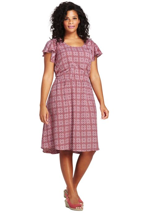 Women's Plus Size Flutter Sleeve Print Knee Length Dress
