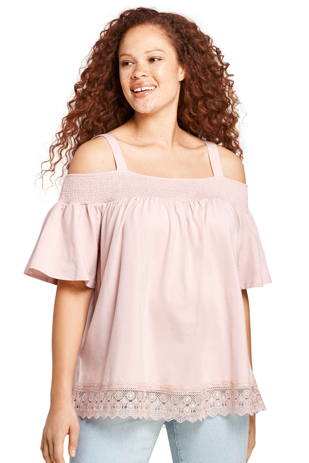 55a80366a5a Women's Plus Size Smocked Off Shoulder Top from Lands' End