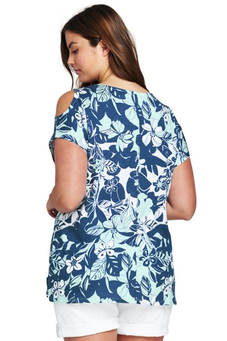 Women's Plus Size Floral Cold Shoulder Top