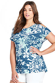 940252cad52a4 Women s Plus Size Floral Cold Shoulder Top