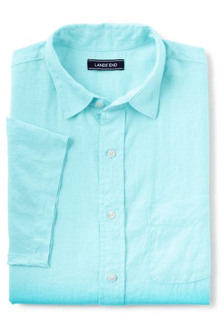 Men's Traditional Fit Short Sleeve Dip Dyed Linen Shirt