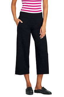 Sale Sast Buy Cheap Cheapest Price Womens Mid Rise Ponte Wide Leg Cropped Trousers - 14/16 - BLACK Lands End Red Pre Order Eastbay Clearance Comfortable Enjoy For Sale UqDOLJP8