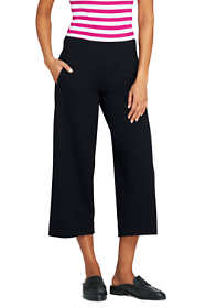 Women's Mid Rise Ponte Wide Leg Crop Pants