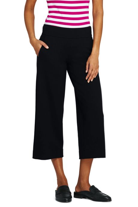 Women's Petite Mid Rise Ponte Wide Leg Crop Pants