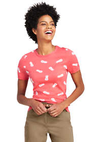 Women's Petite Short Sleeve Pineapple Print Supima Cotton Sweater