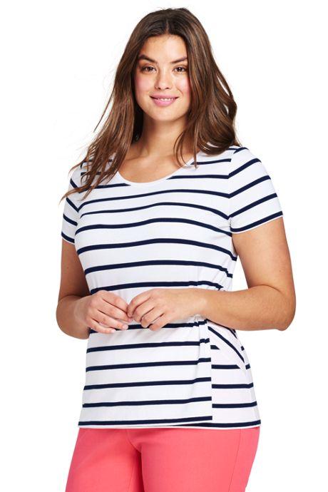 Women's Plus Size Stripe Short Sleeve Side Knot T-shirt