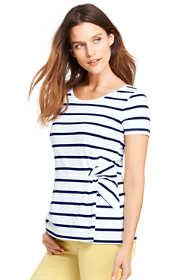 Women's Petite Stripe Short Sleeve Side Knot T-shirt