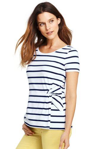 Le T-Shirt Rayé avec Nœud Fantaisie, Femme Stature Standard
