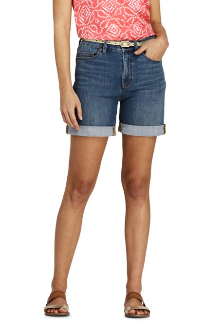 Women's Indigo Mid Rise Roll Cuff Jean Shorts