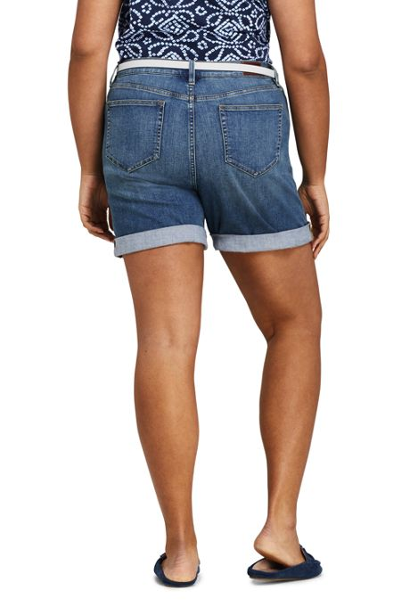 Women's Plus Size Indigo Mid Rise Roll Cuff Jean Shorts