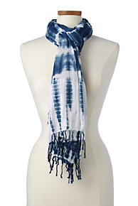 Womens Scarf with Embroidery and Pom Poms Lands End dJ558w