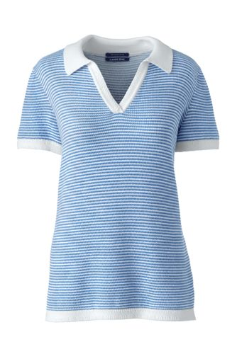 Women's Petite Cotton Polo Shirt with Stripe Knit