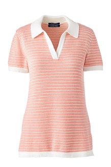 Supima Feinstrick-Polo mit schmalen Streifen für Damen in Normalgröße
