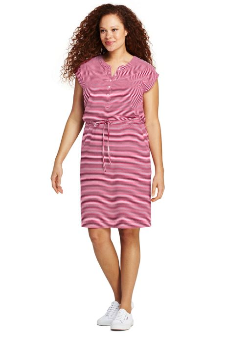 Women's Plus Size Cap Sleeve Stripe Knit Henley Dress