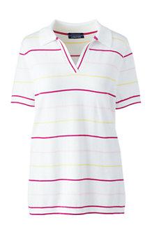 Supima Feinstrick-Polo mit Multicolor-Streifen für Damen in Normalgröße
