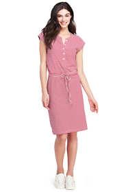 Women's Petite Cap Sleeve Stripe Knit Henley Dress