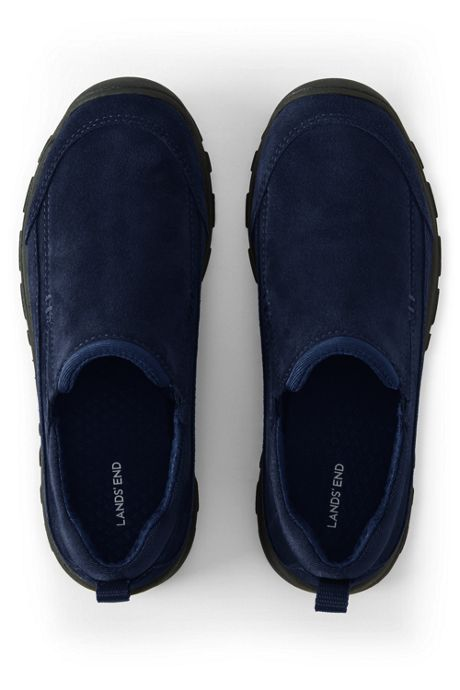 Kids Wide Width All Weather Suede Leather Slip On Moc Shoes