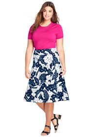 Women's Plus Size Floral Knit Midi Skirt