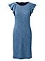 Women's Patterned Shift Dress with Shoulder Ruffles