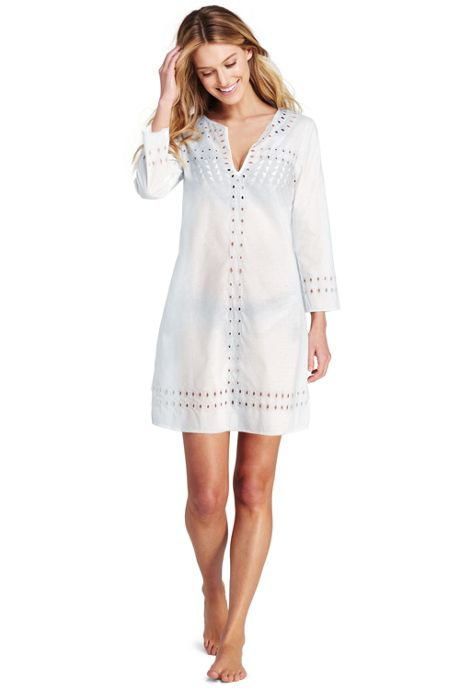 Women's Cotton Lawn Eyelet Tunic Cover-up