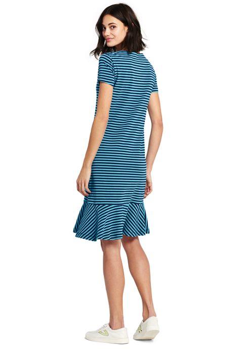 Women's Petite Short Sleeve Stripe Ruffle Hem Tee Shirt Dress