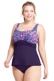 Women's Plus Size Draped Square Neck Tankini Top
