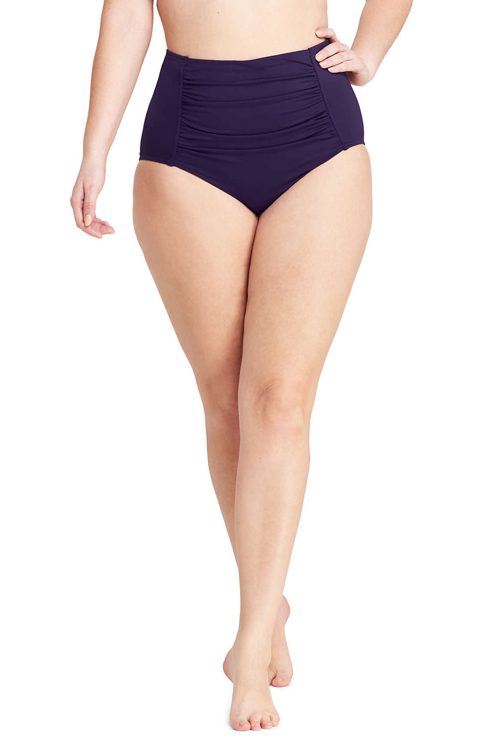 99061f35681 Women's Plus Size High Waisted Bikini Bottoms with Tummy Control from Lands'  End