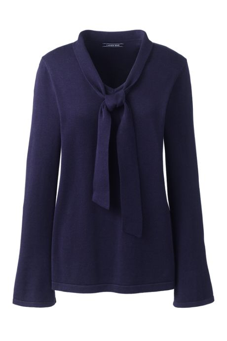 Women's Plus Size Tie Neck Sweater
