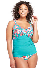 Women's Plus Size Underwire Wrap Tankini Top