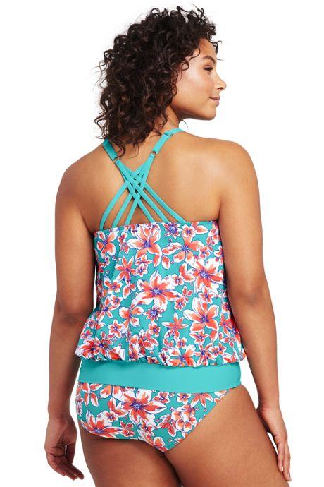 Women's Plus Size High-neck Blouson Tankini Top